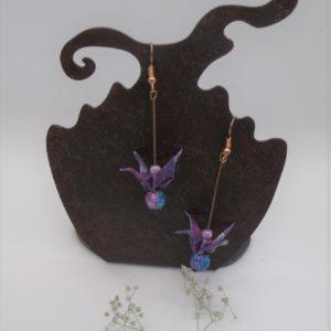 Boucles d'oreilles origami - Grues violettes - 20€
