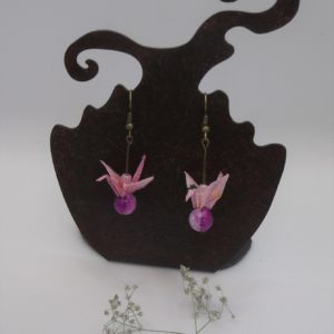Boucles d'oreilles origami - Grues roses - 20€