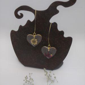 Boucles d'oreilles fleurs cœurs