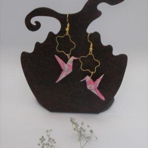 Boucles d'oreilles origami - Colombes de printemps - 25€