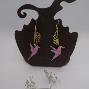 Boucles d'oreilles origami - Colombes roses - 25€