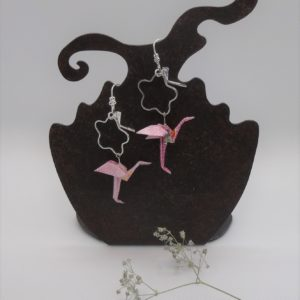 BOOfr2 - 25€ - Boucle d'Oreille Origami flamand rose