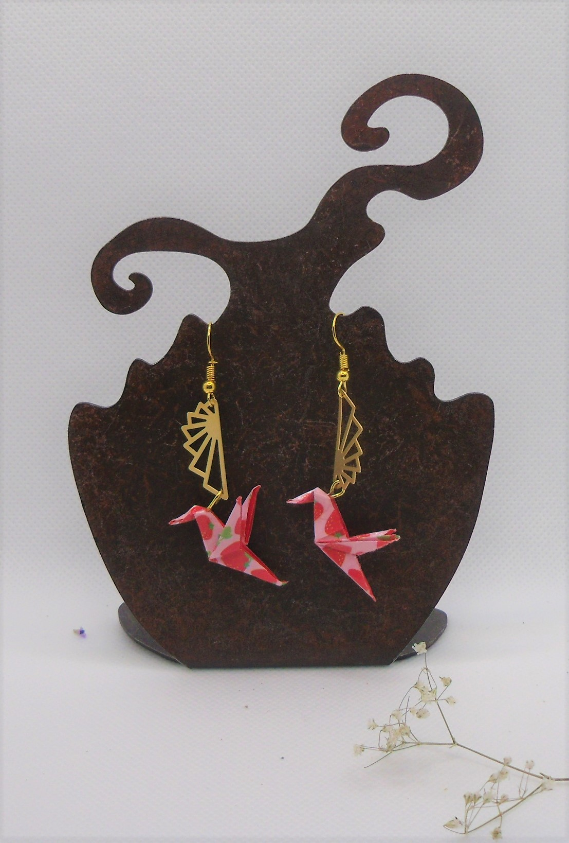 BOOco1 - 25€ - Boucles d'Oreilles Origami colombe - Indisponible