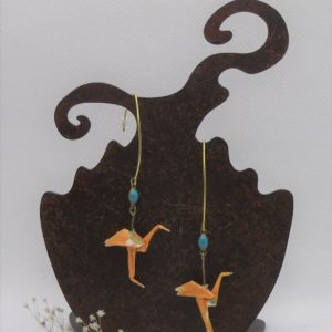 BOOfr1 - 25€ - Boucle d'Oreille Origami flamand rose