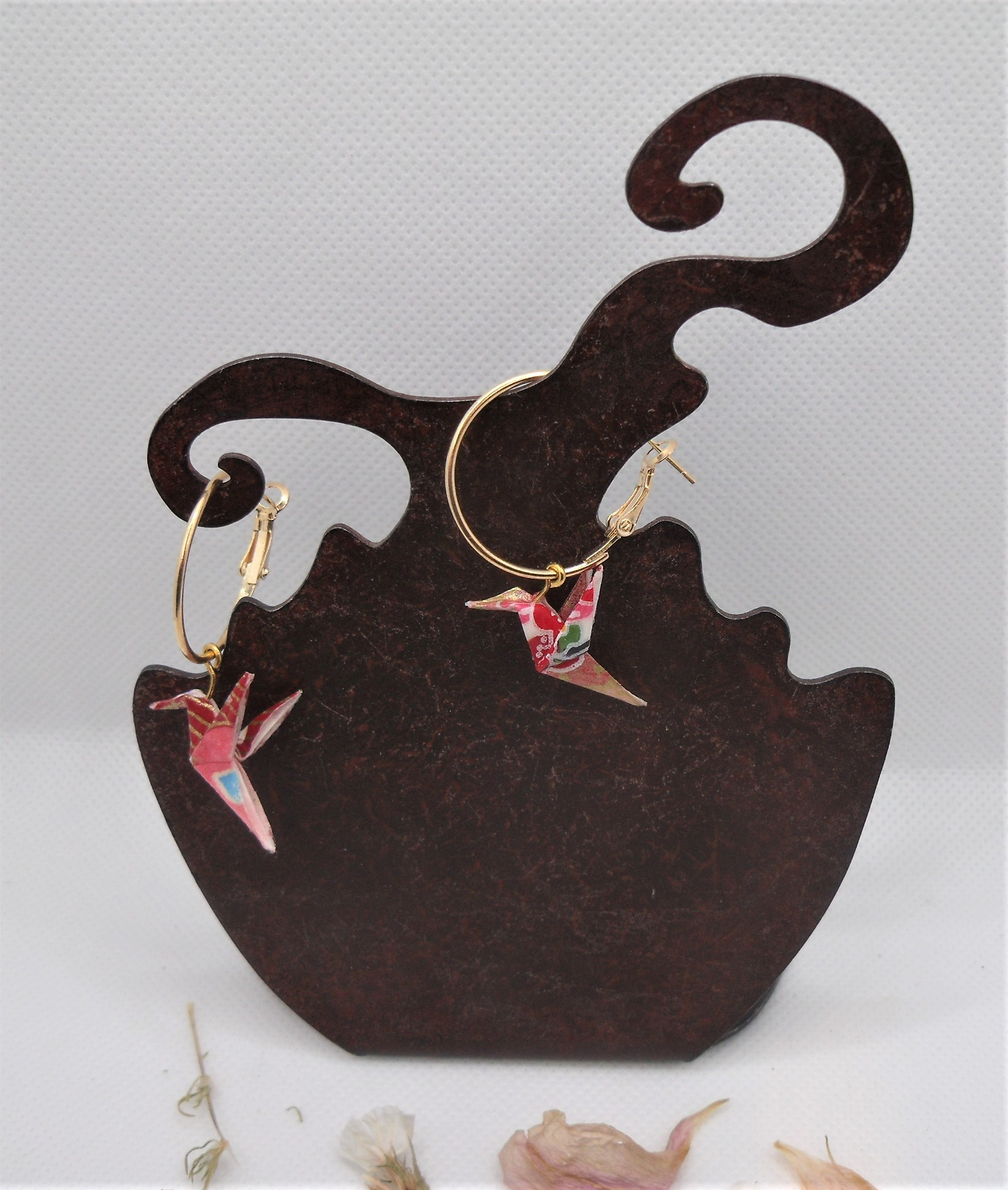 BOOco8 - 20€ - Boucles d'Oreilles Origami colombe - Miskatonic Shop
