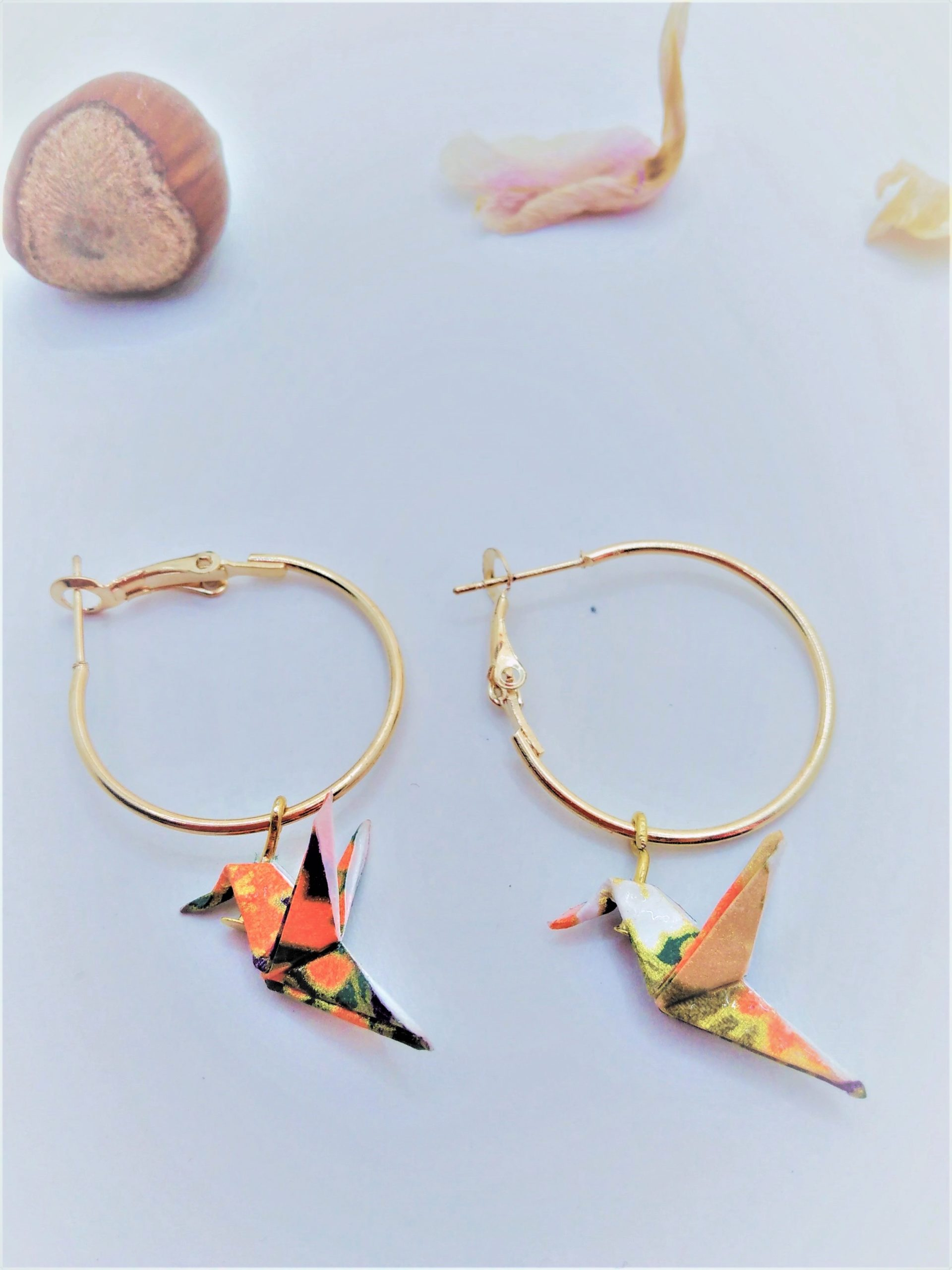 BOOco11 - 20€ - Boucles d'Oreilles Origami colombe - Indisponible