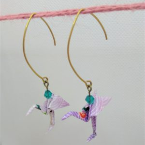 BOOfr5 - 20€ - Boucle d'Oreille Origami flamand rose